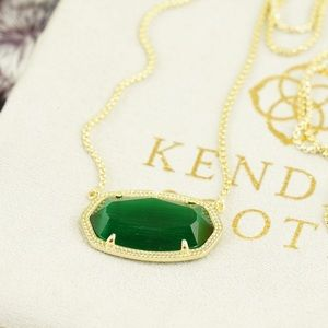 Kendra Scott Delaney necklace emerald green gold
